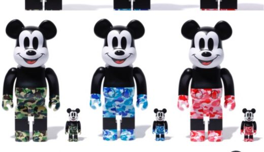 【BAPE®︎ × MEDICOM TOY × MICKEY MOUSE】BE@RBRICK & VCDが11月2日に発売予定