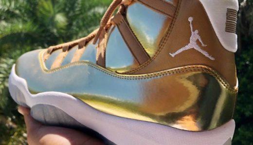 "【OVO × Nike】Air Jordan 11 Retro ""Gold/White""のサンプル画像がリーク"